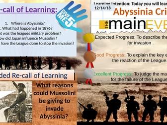 Abyssinia Crisis: Main Events and the League's Failure.