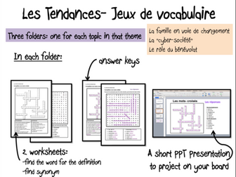 Les Tendances- Vocabulary games/ worksheets- A Level French