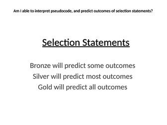 Edexcel Computer Science Paper 2 Prediction selection outcomes