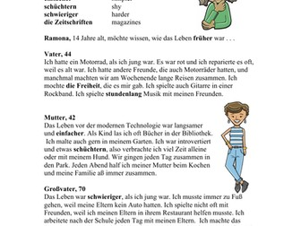 German Simple Past Tense Reading: Wie War das Leben? (Imperfekt/Präteritum)
