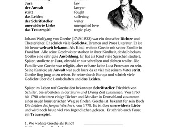 German Biography on Goethe: Biography on a German Writer