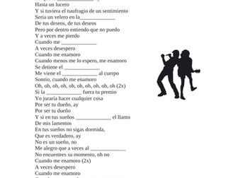 Spanish Song Cloze Activity: Enrique Iglesias: Cuando me enamoro (Imperfect Subjunctive)