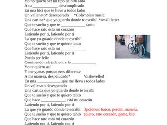 Spanish Song Cloze Activity: Shakira Bicicleta (6 pages) SUB PLAN