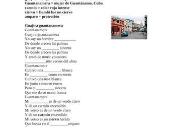 Spanish Song Cloze Activity: Celia Cruz - Guantanamera (SUB PLAN)