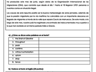 Spanish A Level los indocumentados: translations on illegal immigration with answers