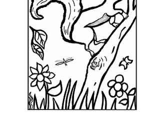 Squirrel Writing + Colouring Sheet - 1 line.