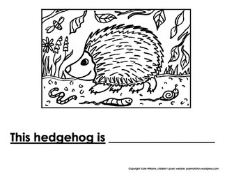 Hedgehog Writing + Colouring Sheet - 1 line