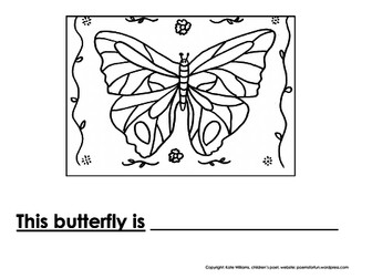 Butterfly Writing + Colouring Sheet - 1 line