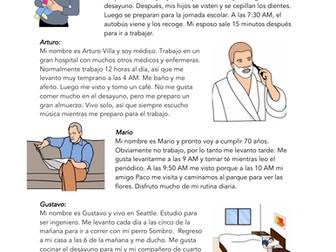 Spanish Reading on Daily Routines: Rutinas / Verbos Reflexivos Lectura