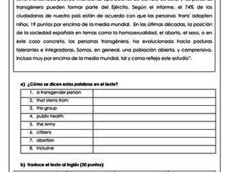 Spanish A Level las personas transgénero: translations on transgender people & equality with answers