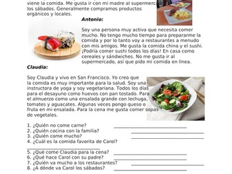 Spanish Reading on Food / Shopping / Cooking: La comida Lectura Fácil