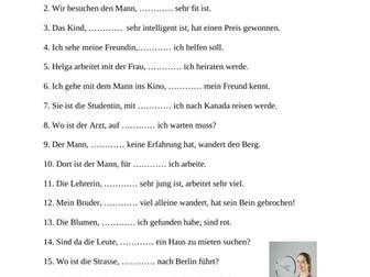 German Relative Pronouns Worksheet: Relativpronomen