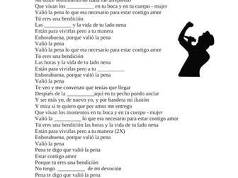Spanish Cloze Song Activity: Valió la pena por Marc Anthony (SUB PLAN)