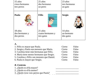 Comparatives Spanish Worksheet / Partner Activity - Comparativos (SUB PLAN)