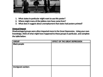 Impact of the Great Depression - presentation and worksheet GCSE