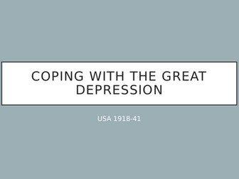 Coping with the Great Depression - word search and presentation/activity