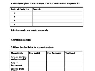 Economics- Intro to Economics Unit