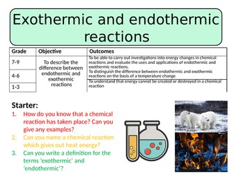 NEW AQA GCSE  (2016) Chemistry - Endothermic and Exothermic Reactions