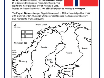 NORWAY - Printable handout with map and flag