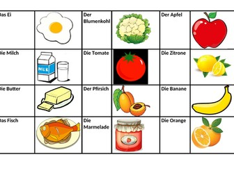 German Foods and Names Matching Activity