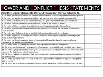 Power and Conflict 15 thesis statements