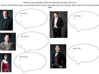 An Inspector Calls Character Worksheet.