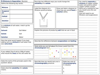 Exploring Science 7E Revision Worksheet- Mixtures and Separation