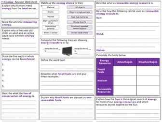 Exploring Science 7I Revision Worksheet- Energy