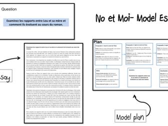 No et Moi-Etude du Livre- Model Essay and Model Plan (Rapports Lou et Anouk)- A Level French