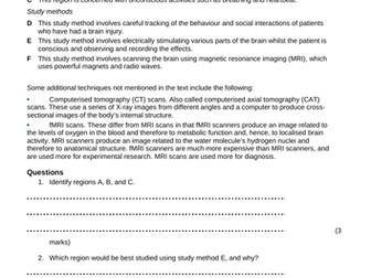 AQA new specification-B10.4-The brain homework