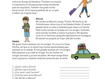Mis vacaciones ideales Lectura: Spanish Beginner Reading on Holidays