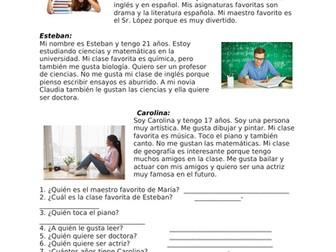 Mis clases favoritas Lectura - My Favorite Subject Spanish Reading - Asignaturas