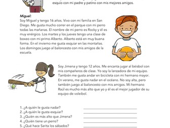 Los Deportes Lectura: Spanish Beginner Reading on Sports