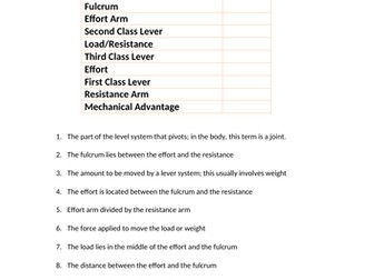 AQA GCSE PE - Lever Systems Key Words by olliegodden