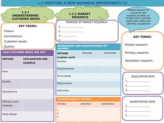 Edexcel Business (9-1) 1.2 Spotting a new business opportunity - Revision template