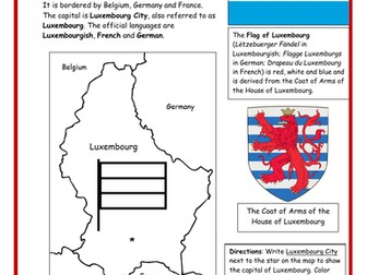LUXEMBOURG - Printable handout with simple map and flag