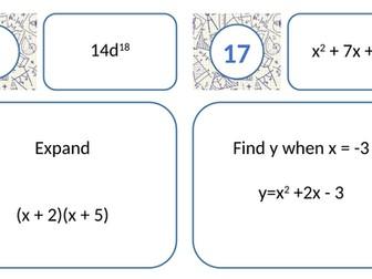 Key Algebraic Skills Treasure Hunt