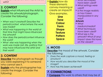 Analysing Art and/or Photography guidance