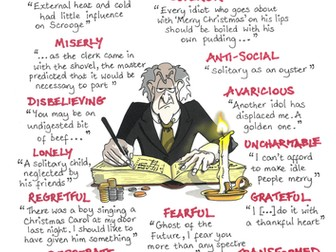A CHRISTMAS CAROL Quotes GCSE REVISION poster EBENEZER SCROOGE Dickens