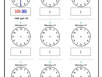 Telling the Time - Versatile clock sheet