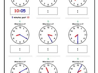 Telling the time - Minutes PAST the Hour