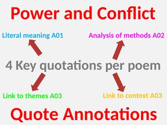 Power and Conflict Revise 4 quotations per poem. Power and Conflict Revision 4 quotes per poem.