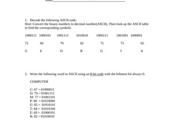 Ascii Worksheet