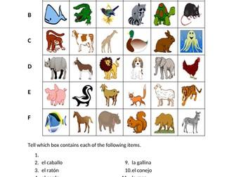 Animales (Animals in Spanish) Find it Worksheet