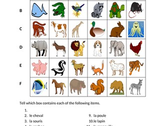 Animaux (Animals in French) Find it Worksheet