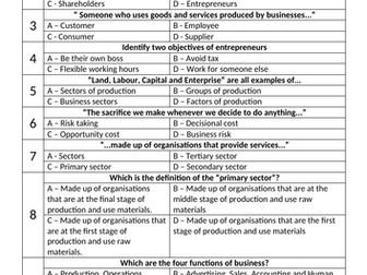 9-1 AQA Business Studies Unit 1 test