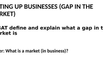 Gap in the market and market mapping lessons
