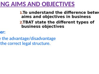 Aims and objectives (Business)