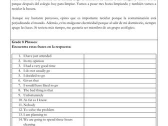 Spanish GCSE longer writing task el medio ambiente: environment, writing model answer & translation