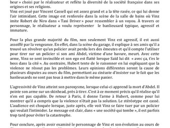 La Haine- Model Essay- Evolution de Vinz